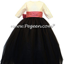 Black, ivory and azalea pink tulle flower girl dress  | Pegeen