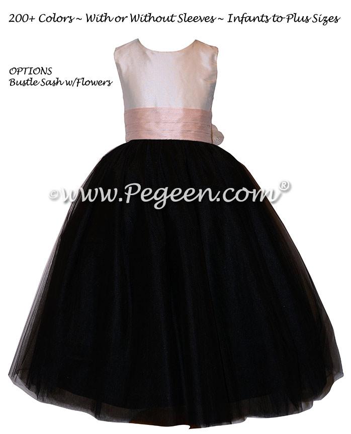 Black Silk tulle flower girl dresses with beautiful, handmade silk rose