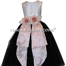 Black and Pink Tulle and Silk flower girl dresses