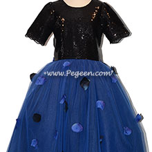 Black and Blue Tulle flower girl dress used for Bar Mitzvah