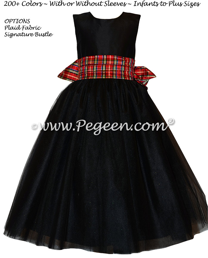 Black Silk and Christmas Plaid and tulle flower girl dresses