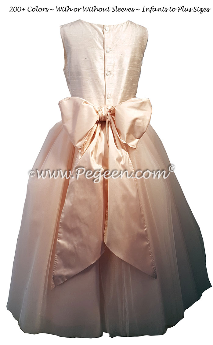 Flower girl Dresses in blush pink with rhinestone trims