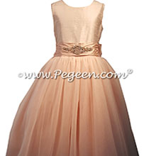 Rose Gold Rhinestone Trimmed Silk & Tulle flower girl dresses