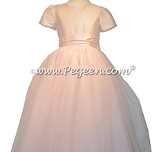 Blush pink and Petal Pink tulle and silk flower girl dresses