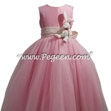 Bubblegum pink and bunny flower girl dress