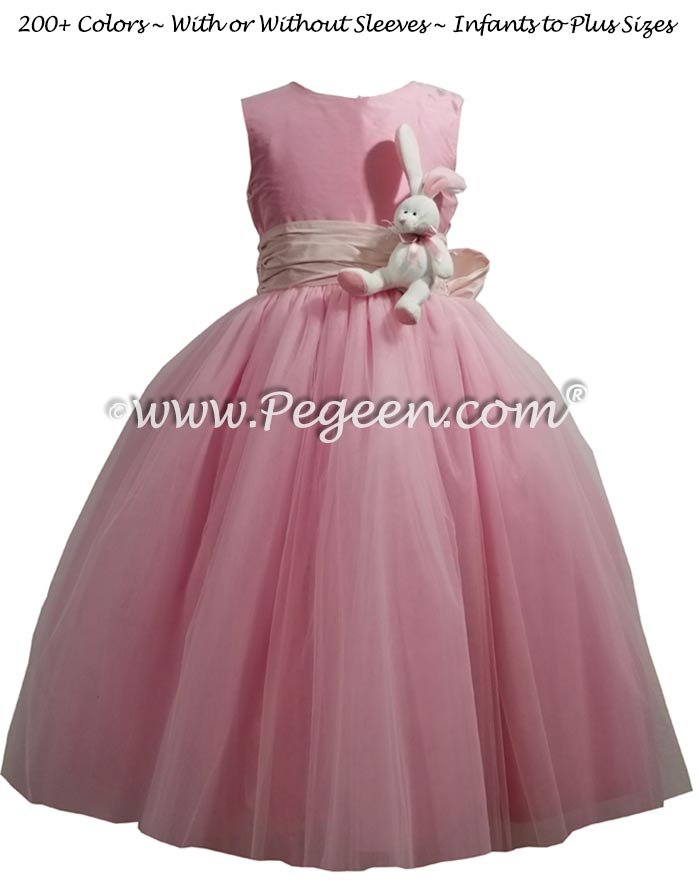 Easter Themed flower girl dress in bubblegum pink
