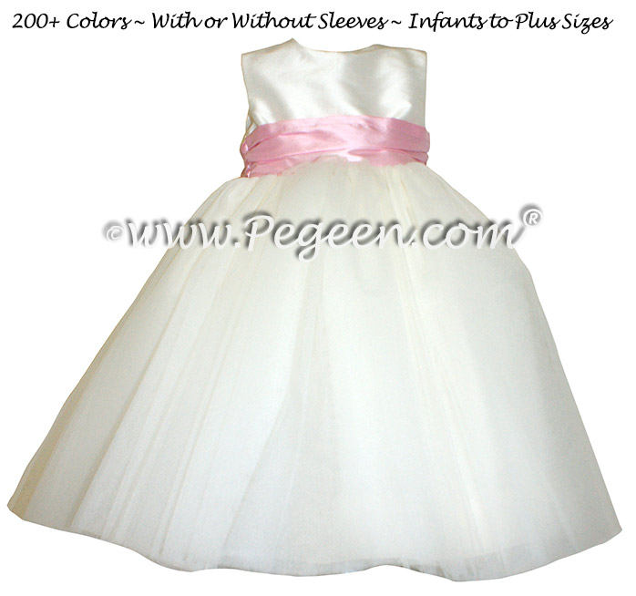 Bubblegum Pink and Ivory Silk Flower Girl Dress Pegeen Style 402 with Flower