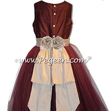 Burgundy and Toffee silk and tulle flower girl dresses