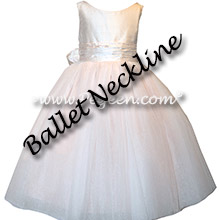 Champagne Pink Silk flower girl dresses
