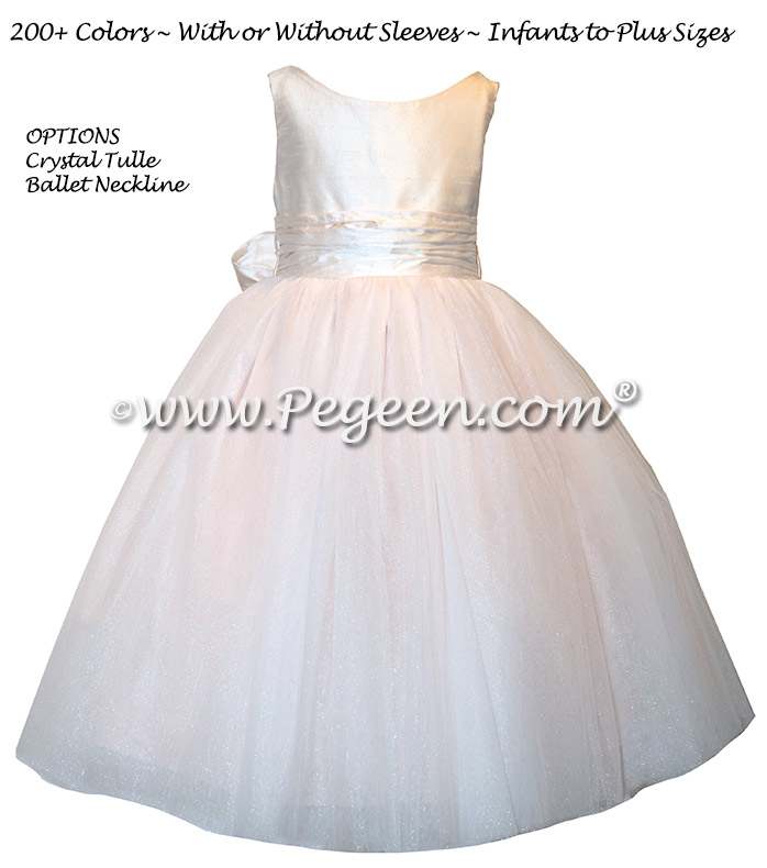 Champagne Pink Silk flower girl dresses - Style 402