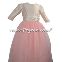 3/4 Sleeves, gumdrop tulle skirt flower girl dress for Jewish Wedding