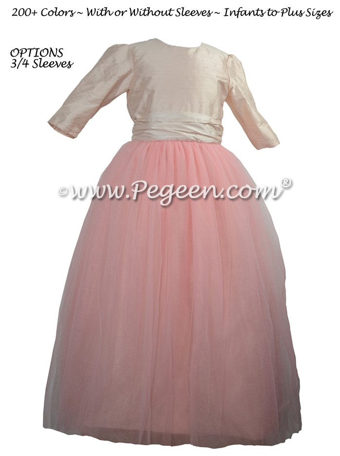 3/4 Sleeves, gumdrop tulle skirt flower girl dress for Jewish Wedding