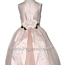 Champagne Pink Silk and Tulle with Back Bustle flower girl dressses
