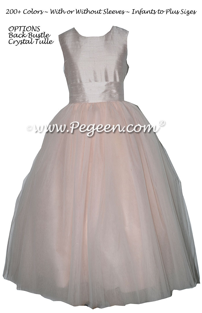 Champagne Pink Silk and Tulle with Back Bustle flower girl dresses