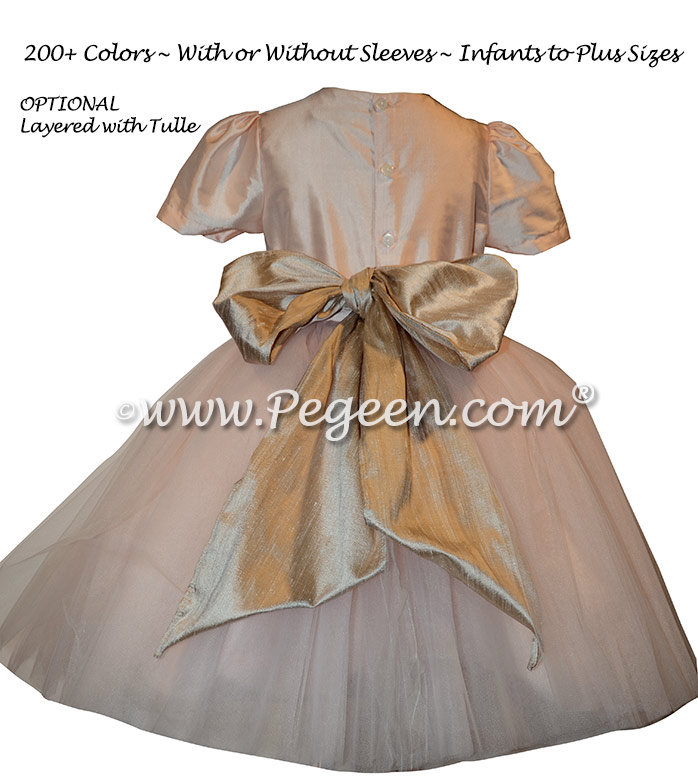 Style 402 Flower Girl Dress in Ballet Pink with Toffee Sash