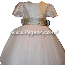 Style 402 Flower Girl Dress in Champagne Pink with Toffee Sash