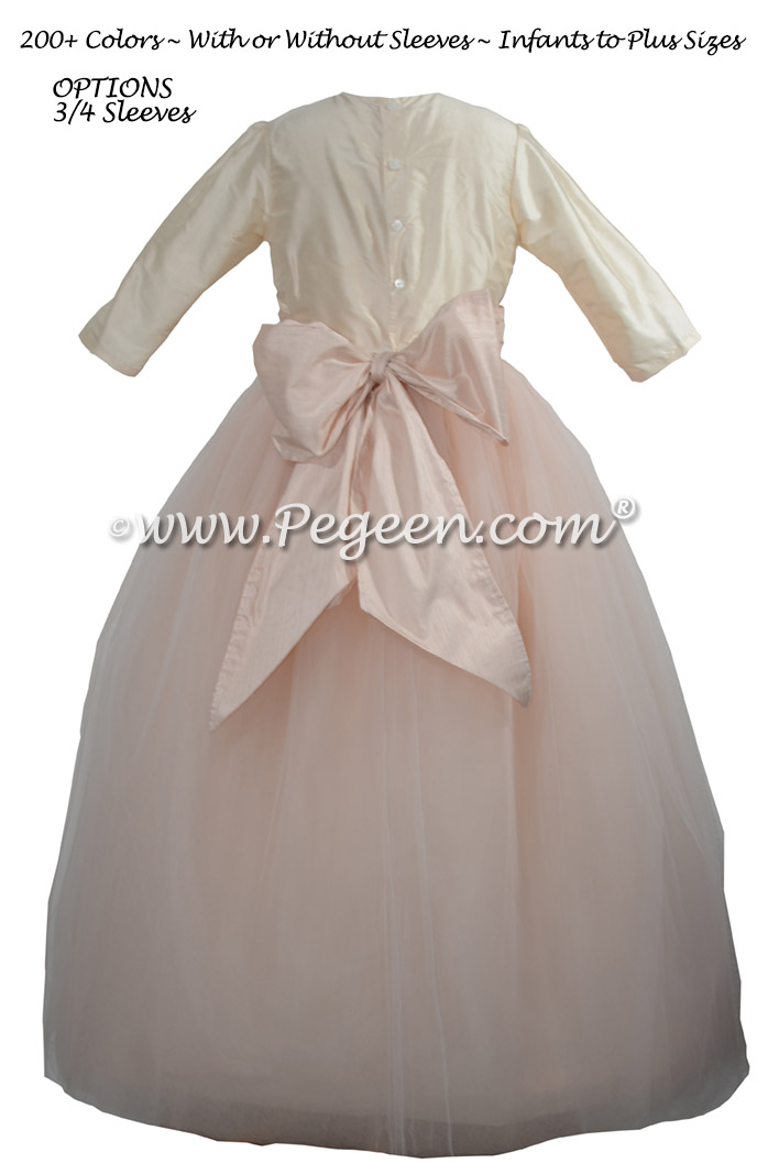 Flower Girl Dresses in Champagne Pink and Blush with 3/4 Sleeves