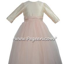 3/4 Sleeves, blush tulle skirt flower girl dress for Jewish Wedding