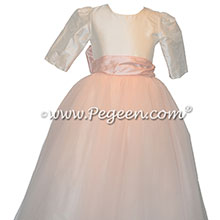 Pink and Ivory Silk Tulle Flower Girl Dress with 3/4 Sleeves