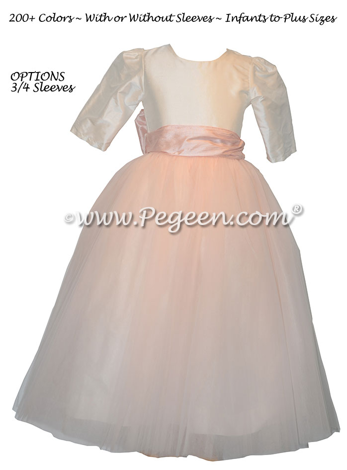 Peony Pink and White Tulle Flower Girl Dress with 3/4 Sleeves Style 402