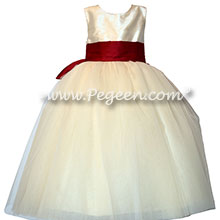 Ivory and Burgundy Silk and Tulle flower girl dress with Signature Bustle | Pegeen