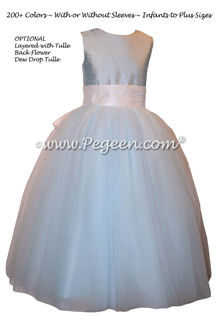 Cloud Blue and White Flower Girl Dresses with layers and layers of tulle Style 402