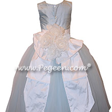 Cloud Blue and White Flower Girl Dresses with layers and layers of tulle