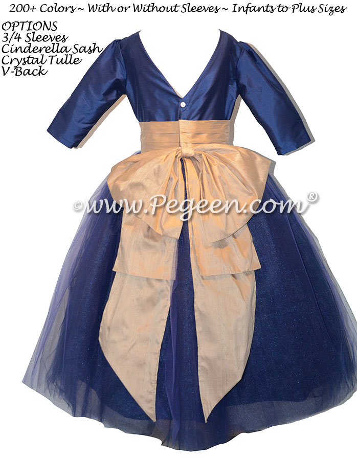 402 Colonial Blue and Spun Gold flower girl dress