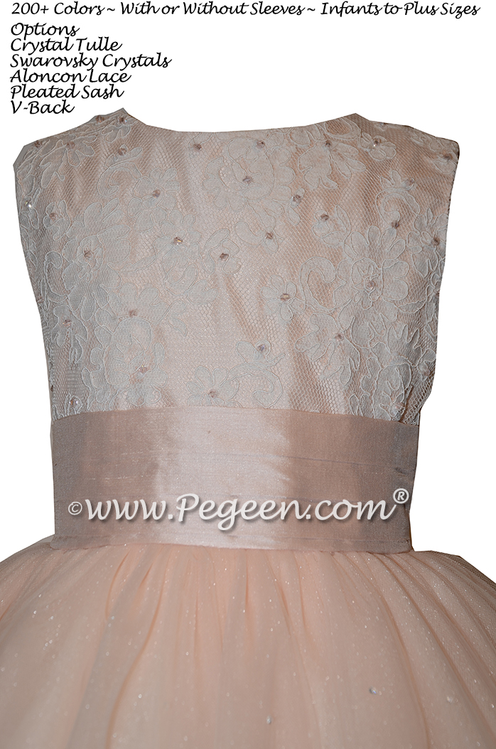 Custom Ivory and Aloncon Lace and Pink Tulle Flower Girl Dresses - Couture Style 402