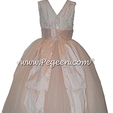 Custom Ivory and Aloncon Lace and Pink Tulle Flower Girl Dresses