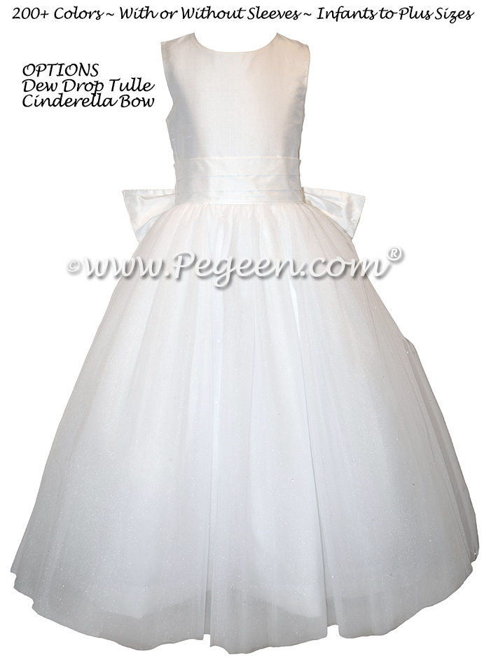 Dewdrop Tulle, Monogrammed Antique White First Communion Dress - Style 402 | Pegeen