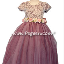 Aloncon Lace and Eggplant Silk flower girl dress
