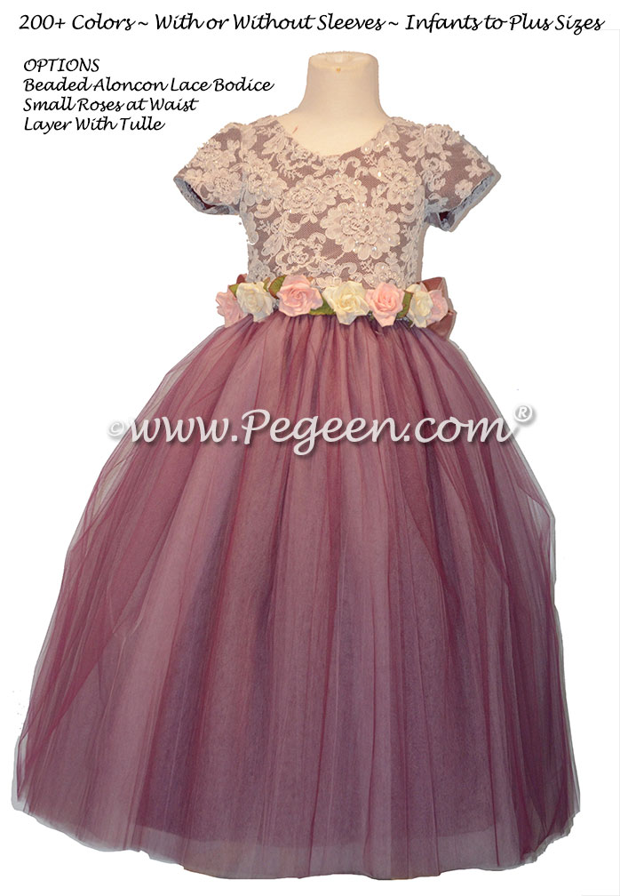 Aloncon Lace and Eggplant Silk flower girl dress Couture Style 402