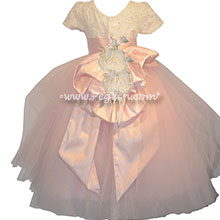 Peony Pink Silk Flutter Skirt with Swarovski Crystals Flower Girl Dress