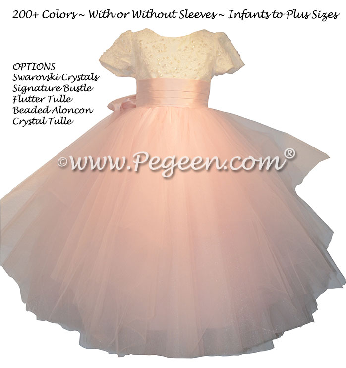 Peony Pink ballerina style Flower Girl Dresses with Swarovski Crystals, lace and fluffy layers of tulle