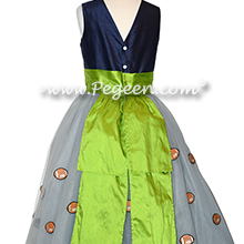 Custom Tulle flower girl dress with Football Appliques in Seattle Seahawk colors