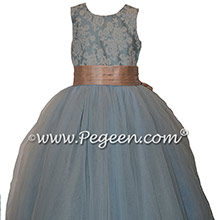 French Blue and Peach Flower Girl Dresses