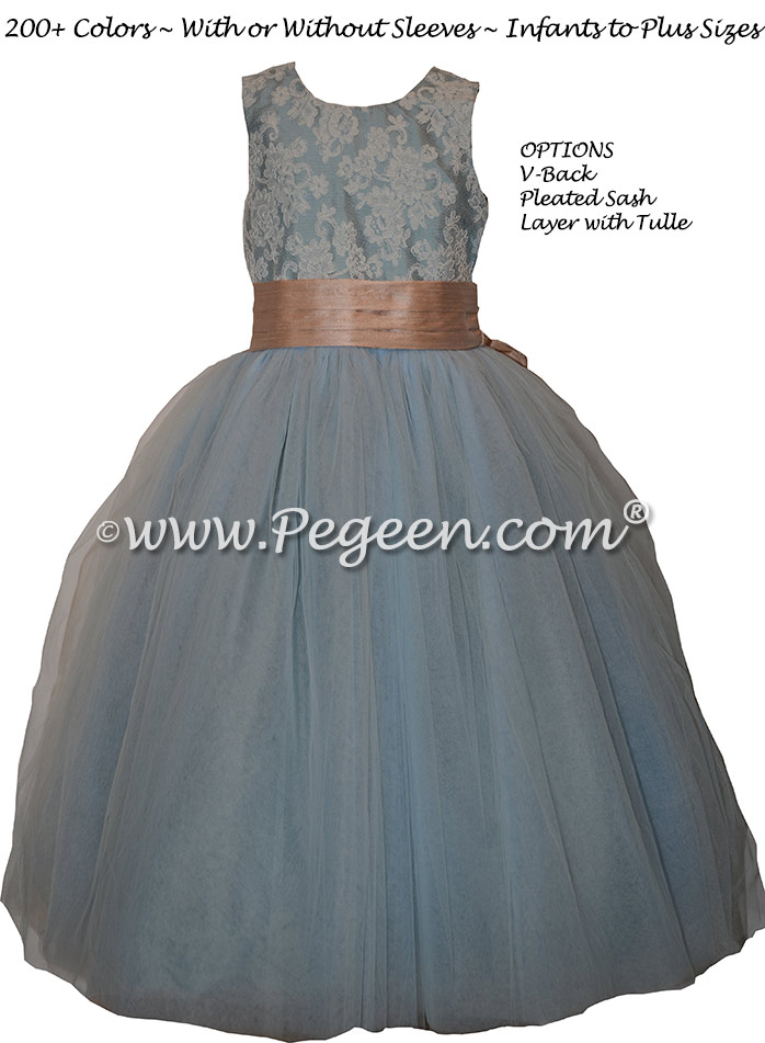 French Blue and Peach Flower Girl Dresses Style 402