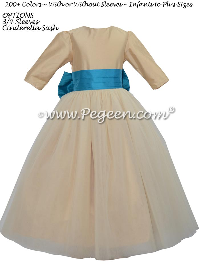 Pure Gold and Mosaic Teal and Sequined flower girl dress