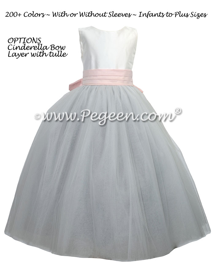 Pink, gray and white silk and tulle flower girl dress with Cinderella Bow