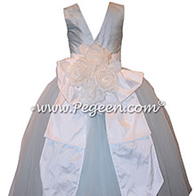 Ice Blue and White Flower Girl Dresses with Tulle
