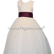 Purple iris accented tulle and silk flower girl dresses