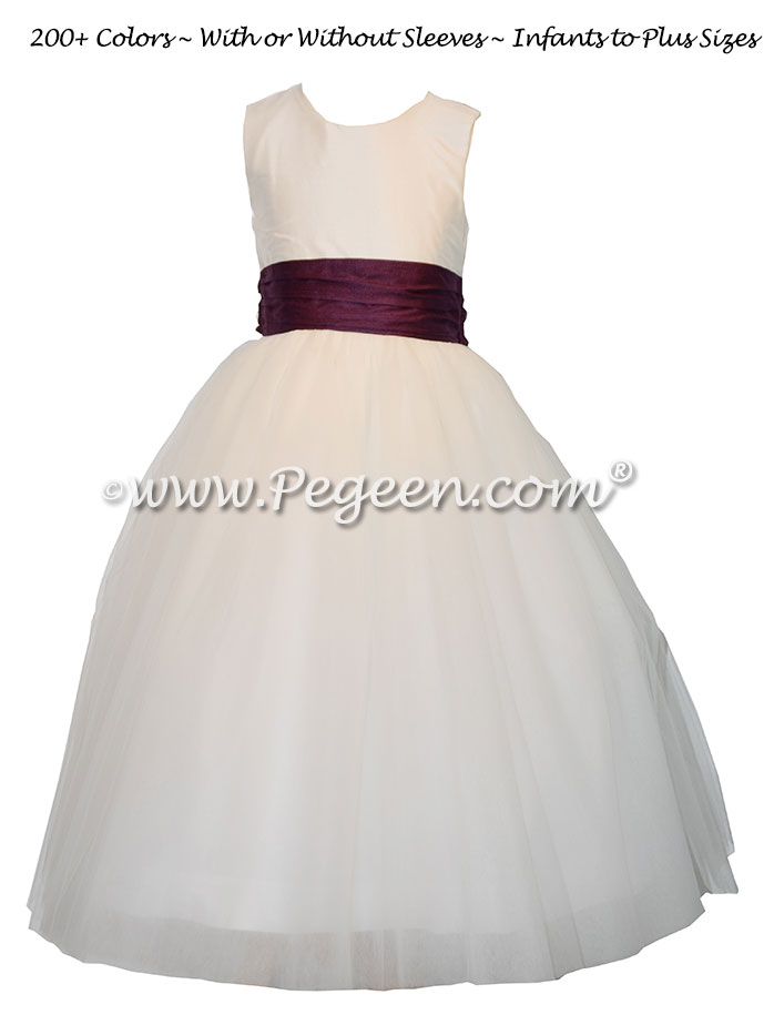Purple and white tulle and silk flower girl dresses - Style 402