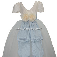 Cloud Blue and Ivory silk flower girl dress with a hint of blue in the skirt