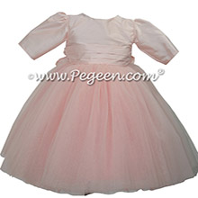 Pink 3/4 sleeve silk and tulle flower girl dress