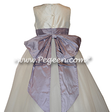 Light Orchid and White Flower Girl Dresses with layers and layers of tulle Style 402