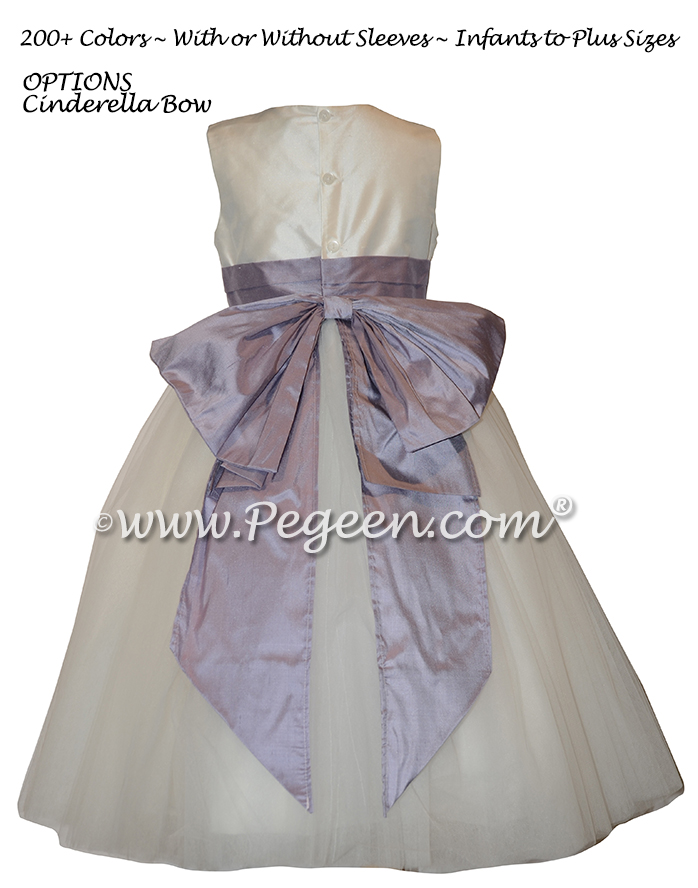 Light Orchid and White Flower Girl Dresses with layers and layers of tulle Style 402 | Pegeen