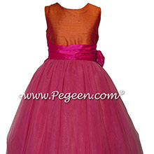 Mango and Shock Pink Custom Silk Flower Girl Dresses