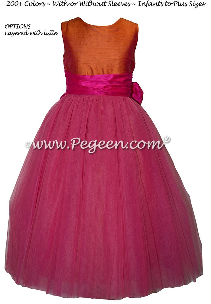 Mango and Shock Pink Custom Silk Flower Girl Dresses Style 402