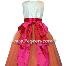 Mango orange and Sorbet Pink custom silk flower girl dresses